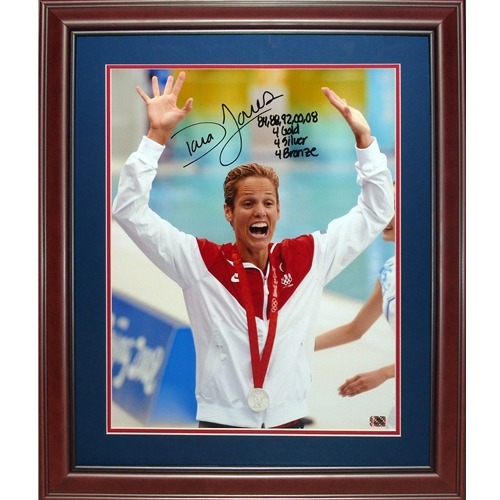 "Dara Torres Autographed Beijing Olympics (Silver Medal) Deluxe Framed 16x20 Photo w/ ""84,88,92,00,08"""