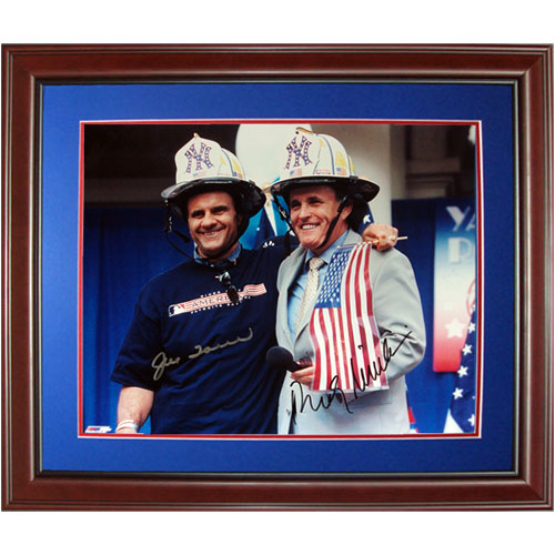 "Joe Torre and Rudy Giuliani Dual Autographed ""9/11 Tribute"" Deluxe Framed 11x14 Photo"