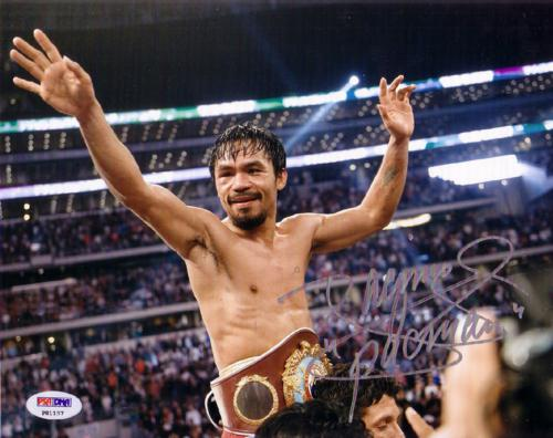 Manny Pacquiao Autographed Boxing (Celebrating Horiz) 8x10 Photo - PSADNA