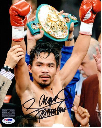Manny Pacquiao Autographed Boxing (Belt) 8x10 Photo - PSADNA