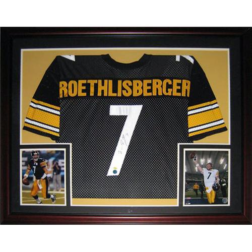 Ben Roethlisberger Autographed Pittsburgh Steelers (Black #7) Deluxe Framed Jersey