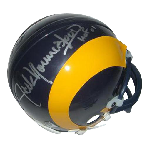 "Jack Youngblood Autographed St. Louis Rams (Yellow Throwback) Mini Helmet w/ ""HOF 01"""