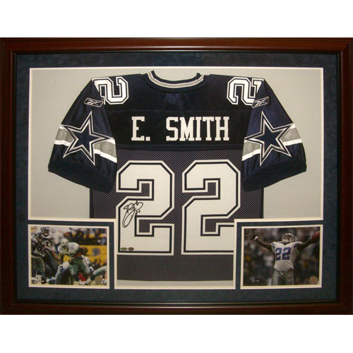 Emmitt Smith Autographed Dallas Cowboys (Blue #22) Deluxe Framed Jersey