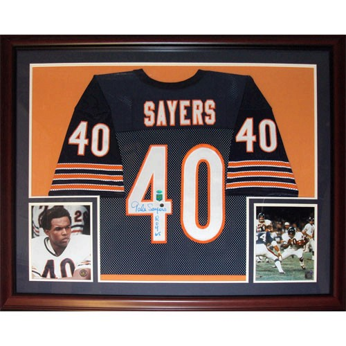 "Gale Sayers Autographed Chicago Bears (Blue #40) Deluxe Framed Jersey w/ ""HOF 77"""