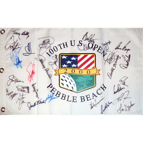 2000 US Open (Pebble Beach) Golf Pin Flag Autographed by 29 Former Champions #2