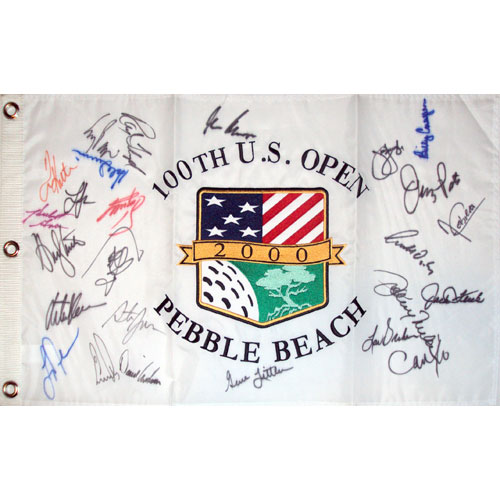 2000 US Open (Pebble Beach) Golf Pin Flag Autographed by 26 Former Champions #5