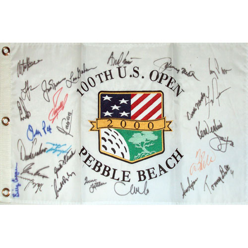 2000 US Open (Pebble Beach) Golf Pin Flag Autographed by 27 Former Champions #6