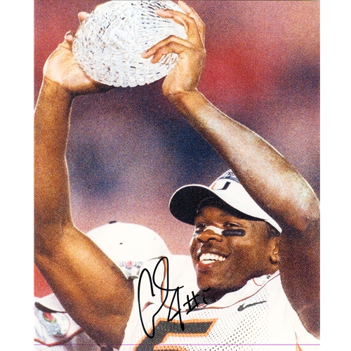 Andre Johnson Autographed Miami Hurricanes (Holding Trophy) 8x10 Photo