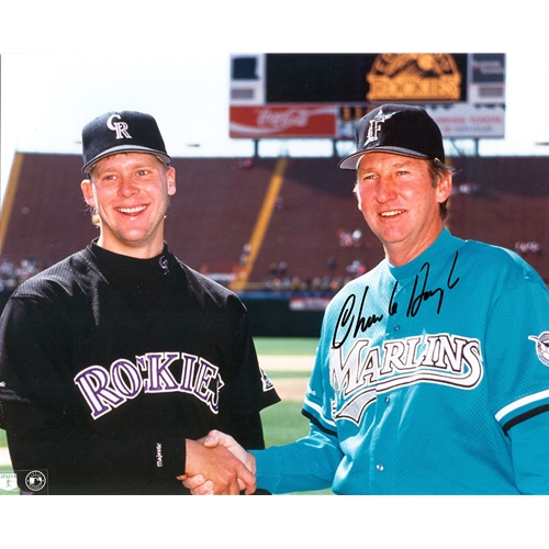 Charlie Hough Autographed Florida Marlins (Inaugural with David Neid) 8×10 Photo