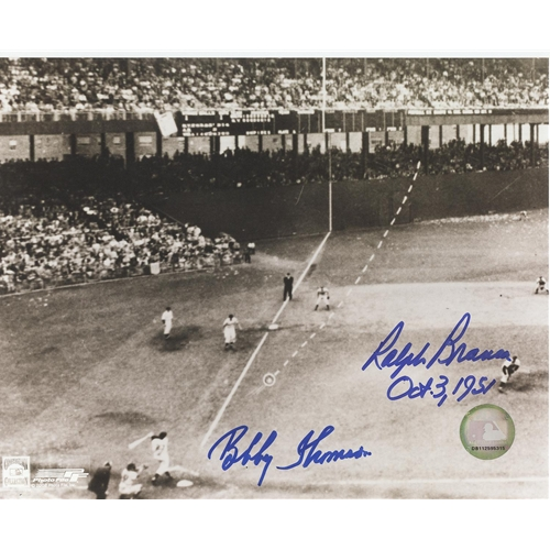 "Ralph Branca And Bobby Thomson Dual Autographed ""Shot"" (Horizontal Dotted Line) 8x10 Photo"