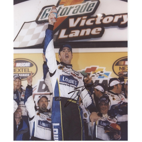 Jimmie Johnson Autographed Lowes (Victory Lane) 8x10 Photo