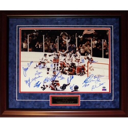 1980 U.S. Olympic Hockey Team Autographed (Miracle on Ice Horiz) Deluxe Framed 16x20 Photo - 19 Signatures