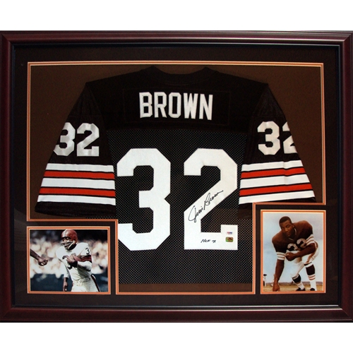 "Jim Brown Autographed Cleveland Browns (Brown #32) Deluxe Framed Jersey w/ ""HOF 71"""