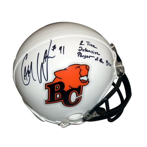 "Cameron Cam Wake Autographed BC Lions (CFL) Mini Helmet w/ ""2 Time Defensive Player of Year"" - Wake Holo"