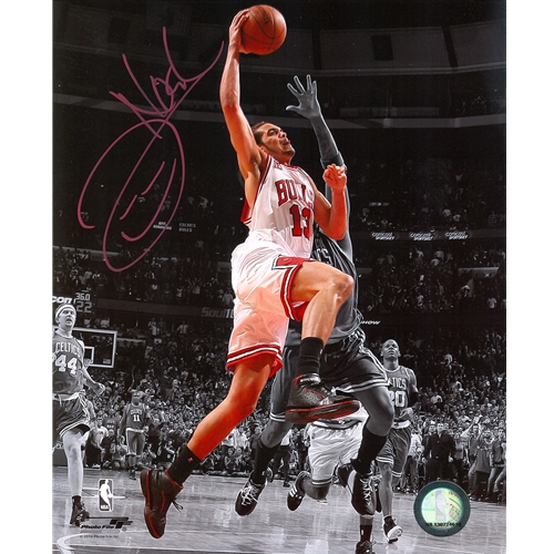 Joakim Noah Autographed Chicago Bulls (Spotlight Dunk vs Celtics) 8x10 Photo
