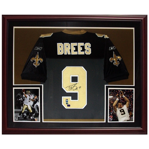 Drew Brees Autographed New Orleans Saints (Black #9) Deluxe Framed Jersey - Brees Holo