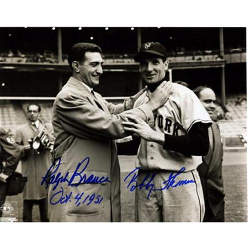 "Ralph Branca and Bobby Thomson Dual Autographed ""Shot"" (Choking) 8x10 Photo"