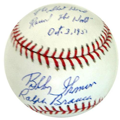"Ralph Branca and Bobby Thomson Dual Autographed ""Shot"" MLB Baseball w/ Inscription , Date"