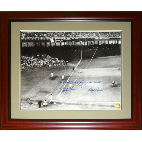 "Ralph Branca and Bobby Thomson Dual Autographed ""Shot"" (Horizontal Dotted Line) Deluxe Framed 16x20 Photo w/ Inscription , Date"