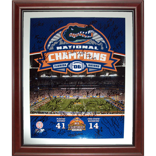 2006 Florida Gators National Championship Team and Urban Meyer Autographed (BCS in Black) Deluxe Framed 16x20 Composite Photo - 44 Signatures