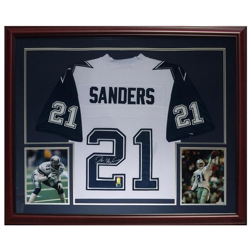 Deion Sanders Autographed Dallas Cowboys (White #21) Deluxe Framed Jersey - Sanders Holo