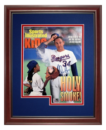 Nolan Ryan Autographed Texas Rangers (SI Kids Sept 91) Deluxe Framed Sports Illustrated Magazine