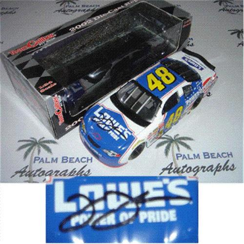 Jimmie Johnson Autographed Lowes Power of Pride #48 (2002 Team Caliber Pit Stop) 1/24 Diecast Car