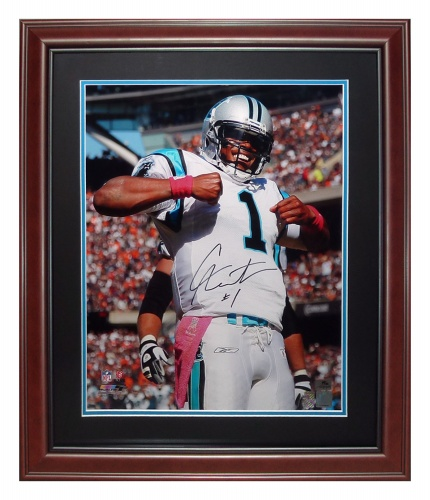 Cameron Newton Autographed Carolina Panthers (Superman) Deluxe Framed 16x20 Photo - Newton Holo