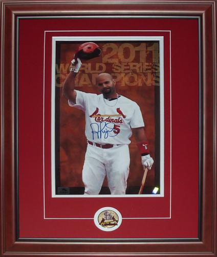 Albert Pujols Autographed St. Louis Cardinals (2011 World Series) Deluxe Framed 9x15 Photo - Pujols Holo