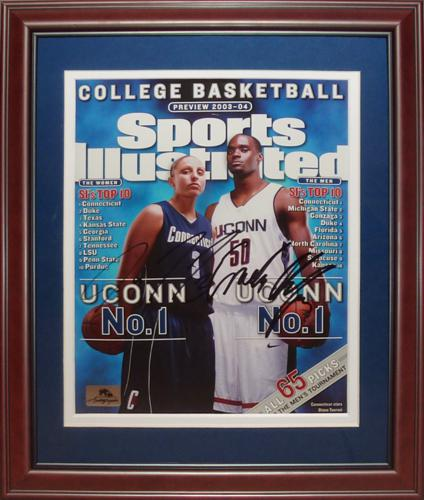 Diana Taurasi And Emeka Okafor Autographed Connecticut Huskies Sports Illustrated (Preview 2003-04) Deluxe Framed Magazine