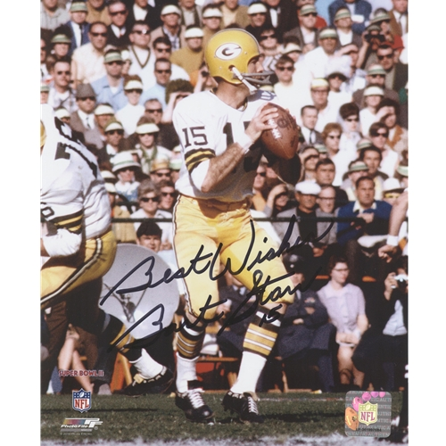 Bart Starr Autographed Green Bay Packers (White Jersey) 8x10 Photo