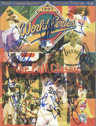 Cleveland Indians Team Autographed 1997 World Series Official Program - 14 Signatures