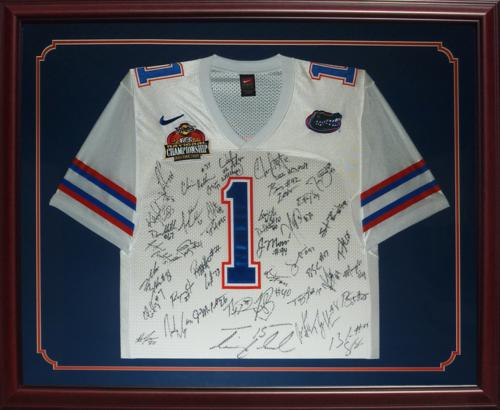 2006 Florida Gators National Championship Team and Urban Meyer Autographed (White #1) Deluxe Framed Jersey - 45 Signatures