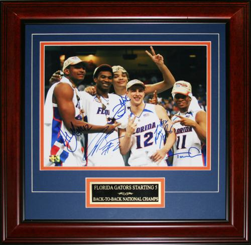 """Florida Gators """"Starting 5"""" (Brewer , Green , Horford , Humphrey , Noah) Autographed (2007 Final Four) Deluxe Framed  11x14 Photo"""