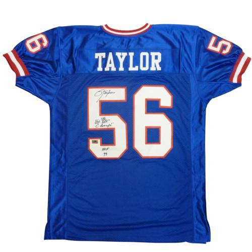 Lawrence Taylor Autographed New York Giants (Blue #56) Custom Stitched Jersey w/ 2 inscr