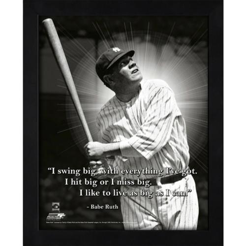 "Babe Ruth New York Yankees (Swinging) Framed 11x14 ""Pro Quote"" #4"