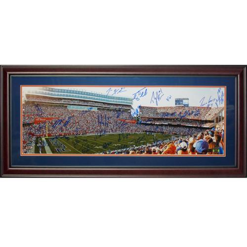 2008 Florida Gators National Champions Team And Tim Tebow Autographed (The Swamp) Deluxe Framed Panoramic Photo - 34 Signatures