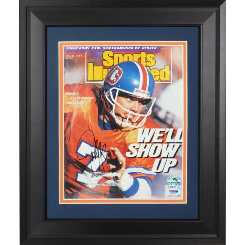John Elway Autographed Denver Broncos (1/22/90) Deluxe Framed Sports Illustrated Magazine - PSADNA