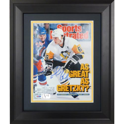Mario Lemieux Autographed Pittsburgh Penguins (2/6/89) Deluxe Framed Sports Illustrated Magazine - PSADNA