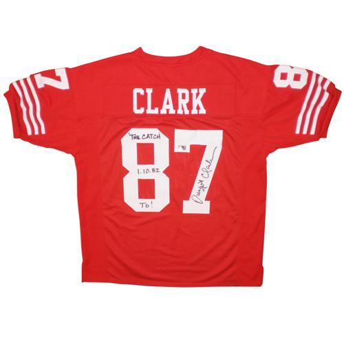 """Dwight Clark Autographed San Francisco 49ers (Red #87) Custom Jersey w/ """"The Catch 1-10-82 TD!"""""""