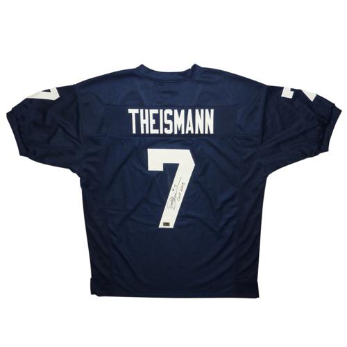 "Joe Theismann Autographed Notre Dame Fighting Irish (Blue #7) Custom Jersey w/ ""CHOF 2007"""