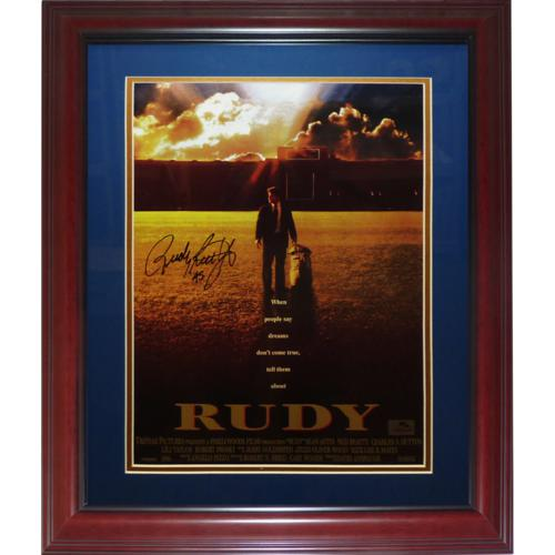 "Rudy Ruettiger Autographed Rudy (Notre Dame Movie) Deluxe Framed 11""x17"" Mini Movie Poster"