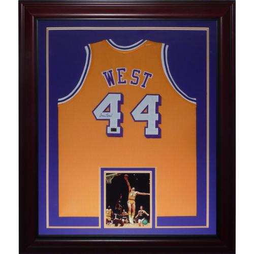 Jerry West Autographed Los Angeles Lakers (Yellow #44) Deluxe Framed Jersey