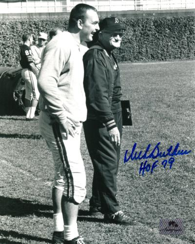 "Dick Butkus Autographed Chicago Bears (with George Halas) 8x10 Photo w/ ""HOF 79"""