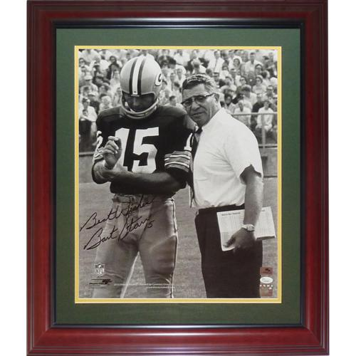 Bart Starr Autographed Green Bay Packers (BW w/ Vince Lombardi) Deluxe Framed 16x20 Photo - JSA