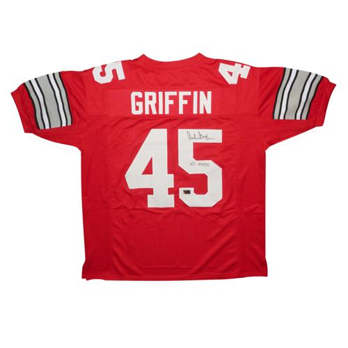 "Archie Griffin Autographed Ohio State Buckeyes (Scarlet #45) Custom Jersey w/ ""H.T. 1974/75"""