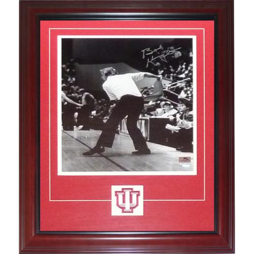Bobby Bob Knight Autographed Indiana Hoosiers (BW Throwing Chair) Deluxe Framed 11x14 Photo with Patch