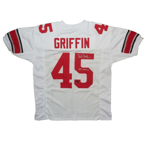 "Archie Griffin Autographed Ohio State Buckeyes (White #45) Custom Jersey w/ ""H.T. 1974/75"""