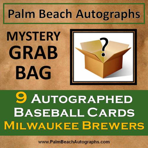 MYSTERY GRAB BAG - 9 Autographed Baseball Cards - Milwaukee Brewers
