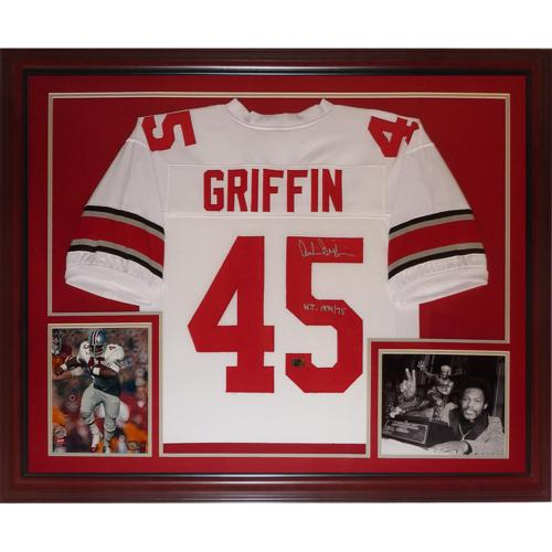 "Archie Griffin Autographed Ohio State Buckeyes (White #45) Deluxe Framed Jersey w/ ""H.T. 1974/75"""